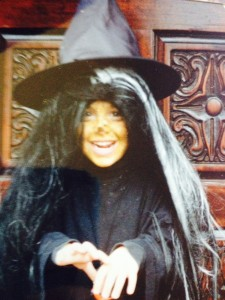 Sassy witch - age 5? Loving that Gothic door we had.